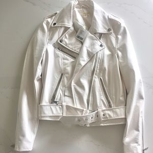 Brand new UO creme faux leather moto jacket in XS